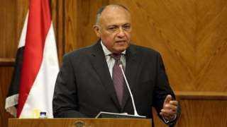 شكرى يؤكد لرئيس المجلس الرئاسى الليبى ونائبيه ضرورة خروج المرتزقة والقوات الأجنبية